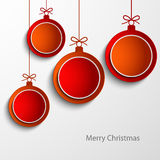 Christmas card with abstract orange and red balls Stock Images