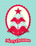 Christmas card with abstract origami tree Stock Images