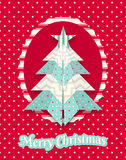 Christmas card with abstract origami tree Royalty Free Stock Photos
