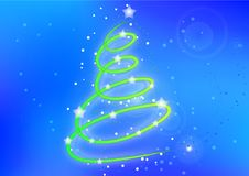 The christmas card with abstract christmas tree on shiny background. Stock Photography