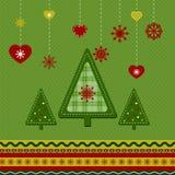 Christmas card. With abstract Christmas trees Stock Photography