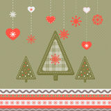Christmas card. With abstract trees in retro style Stock Photography