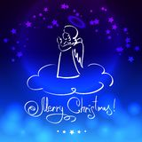 Christmas Card with Angel. Christmas blue card with little angel Stock Photo