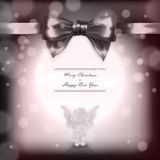 Christmas card with angel and bow in vector Royalty Free Stock Photo