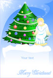 Christmas card of angel and green pine. Stock Photography