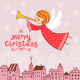 Christmas card with an angel. Royalty Free Stock Photos
