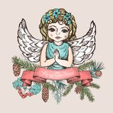 Christmas card with angel Stock Images