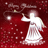Christmas card. Angel and the sparkling stars in the night sky. Stock Image