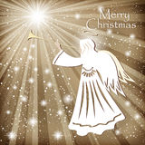 Christmas card. Angel and the sparkling stars in the night sky. Royalty Free Stock Images