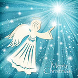 Christmas card. Angel and the sparkling stars in the night sky. Royalty Free Illustration