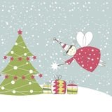 Christmas card with angel. Vector illustration Royalty Free Stock Photo