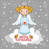Christmas card with an angel. Stock Image