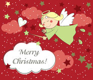 Christmas card with angel. Vector christmas card with little angel Royalty Free Stock Photography