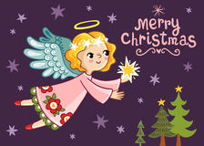 Christmas card with an angel who holds a star. Stock Photo