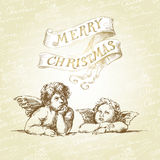 Christmas card with angels. Christmas background with angels- hand drawn card royalty free illustration