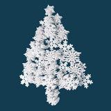 Christmas Card Application From Plastic Snowflakes. On Navy (Blue) Background. Space For Text Freely. Royalty Free Stock Photos