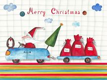 Christmas card. Artistic work. Watercolors on paper Stock Image