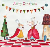 Christmas card. Artistic work. Watercolors on paper Stock Photos