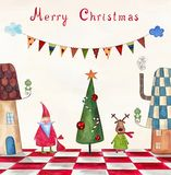 Christmas card. Artistic work. Watercolors on paper Royalty Free Stock Photo