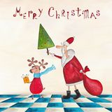 Christmas card. Artistic work. Watercolors on paper Stock Photo