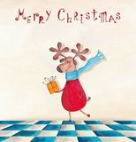 Christmas card. Artistic work. Watercolors on paper Stock Photography
