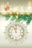 Christmas card 2014. Christmas card in 2014 as a clock on the background of snowflakes Royalty Free Stock Image