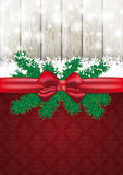 Christmas Card Ash Wood Red Ribbon Ornaments Royalty Free Stock Photography