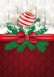 Christmas Card Ash Wood Red Ribbon Ornaments Stock Photo