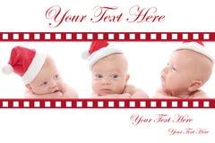 Christmas Card: Babies in Santa Hat royalty free stock photo