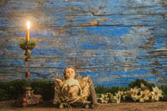 Christmas card, baby Jesus in his crib Royalty Free Stock Photography