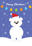 Christmas card with baby polar bear. Cute baby polar bear standing in falling snow under christmas lights Royalty Free Stock Image