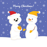 Christmas card with baby polar bearChristmas card with baby polar bear and snowman. Cute baby polar bear giving a christmas present to snowman Royalty Free Stock Images