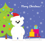 Christmas card with baby polar bearChristmas card with baby polar bear and snowmanChristmas card with baby polar bear, christmas t Stock Photography