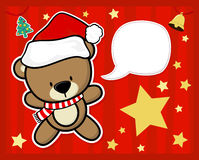 Christmas card with baby teddy bear Stock Images