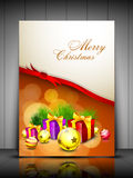 Christmas card or background. With gift boxes, eve ball and lights. EPS 10 Royalty Free Stock Photo