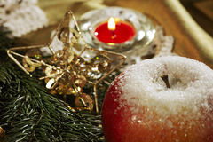 Christmas card background. Witn sugared apple Stock Images
