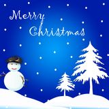 Christmas Card / Background. A christmas card with trees and cute snow man. This can use as a christmas back ground Stock Photography