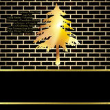 Christmas card background, black and gold fir with copy space Stock Images