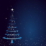 Christmas Card Background. Blue Background with Abstract Christmas Tree Stock Image