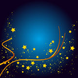 Christmas Card Background. Blue Background with Gold Stars Royalty Free Stock Images