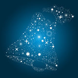 Christmas Card Background. Blue Background with Stars for Bell Stock Photography