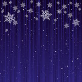 Christmas Card Background. Blue Background with White Snowflakes Royalty Free Stock Photo