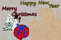 Christmas card with a background of a brick wall Stock Images