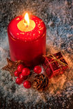 Christmas Card - Background with Candle Stock Photo