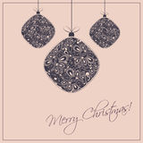 Christmas Card Background with Christmas Balls Stock Images