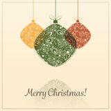 Christmas Card Background with Christmas Balls Royalty Free Stock Photography
