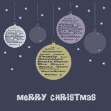 Christmas Card Background with Christmas Balls Royalty Free Stock Images