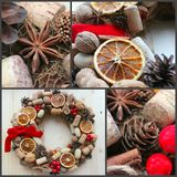 Christmas in a rustic style. Handmade decor. Christmas wreath on the background of old boards. Festive mood. Christmas card. Background Christmas and new year stock photography