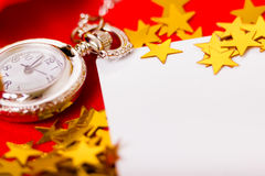 Christmas card. background with a clock and decorations. macro Royalty Free Stock Photography