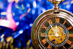 Christmas card. background with a clock and decorations. macro Royalty Free Stock Photo